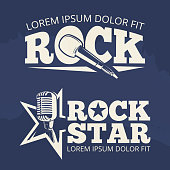 Rock star music labels on grunge backdrop. Retro emblem, vector illustration