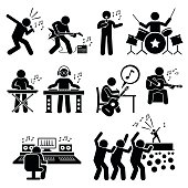 Vector set stick figure man pictogram representing rock star band and group. They are singer, guitar player, drummer, playing keyboard, deejay, dj, songwriter, music production room, and audience and