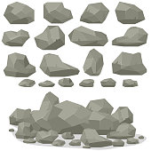 Rock stone cartoon in isometric 3d flat style. Set of different boulders. Natural stones pile. Vector