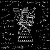 Rocket engine drawing on blackboard with formulas. It can be used as an illustration for the high-tech, engineering development and research.
