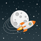 rocket flying into space Icon