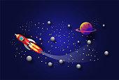 rocket flying In the galaxy , paper art, vector design