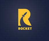 Creative rocket in R letter vector symbol  design. Vector sign. Character symbol type symbols. symbol  icon design for website