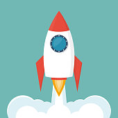 Rocket launch icon isolated on background. Vector illustration flat design. Business project start-up. Creative idea symbol. Development process, innovation.