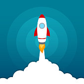 illustration of Rocket launch icon on blue sky background