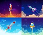 Rocket launch. Space travel, galaxy rocket ship and business plan success start. Rocket ship booster flight technology, galaxy cosmos spaceship vector cartoon concept illustration