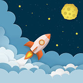 Rocket launch to the Moon. Cute space background with stars, moon, rocket, clouds, smoke. Night sky background with flying rocket. Paper cut craft style. Vector Illustration.