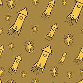 Cute hand drawn color vector seamless pattern. Yellow rocket, spaceship, stars isolated on brown background. Unique abstract texture for invitations, cards, websites, wrapping paper, textile