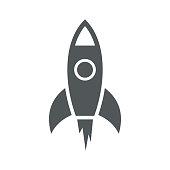 Rocket simple icon. Vector illustration