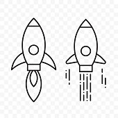 Rocket launch logo or thin line space shuttle vector icons for startup project or space exploration
