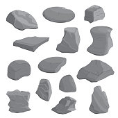 Rocks and stones illustration set. Rocks and stones icon set. Vector. eps10.