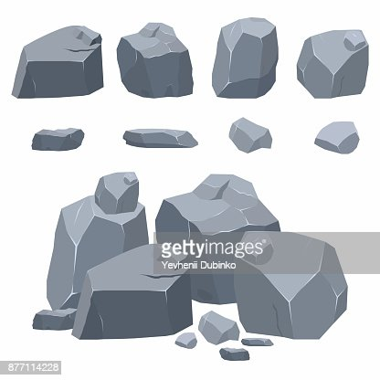 Rocks, stones collection. Different boulders in isometric 3d flat style : stock vector