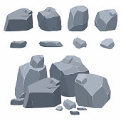 Rocks, stones collection. Different boulders in isometric 3d flat style. Vector