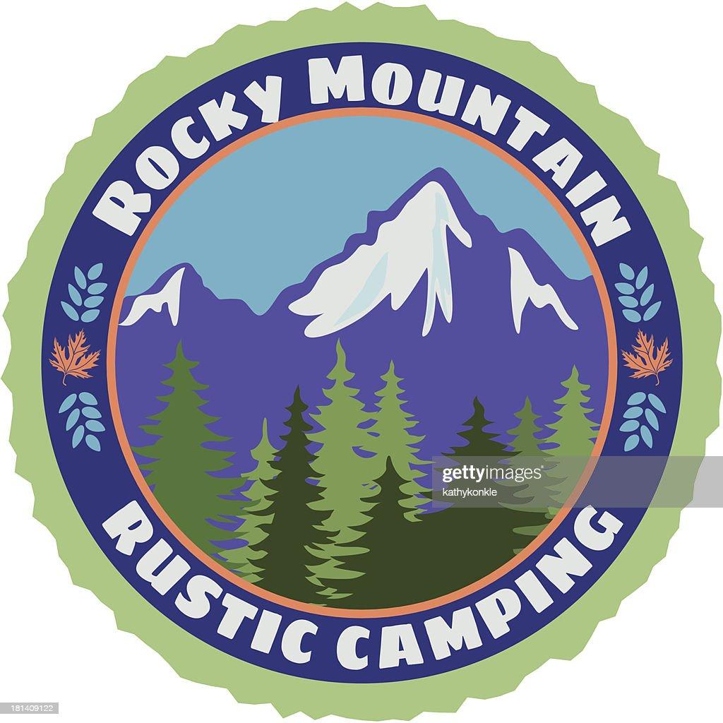 Rocky Mountain Rustic camping sticker : Vector Art