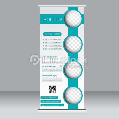 Roll Up Banner Stand Template Abstract Background Vector Art ...
