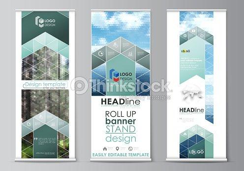 roll up banner stands flat design templates vertical vector flyers