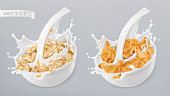 Rolled oats and milk splashes. Corn flakes. 3d realistic vector icon set