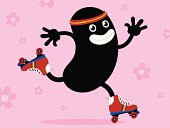 Fun illustration of a cartoon seventies roller skater in the shape of a black bean speeding along on roller skates on a pink background