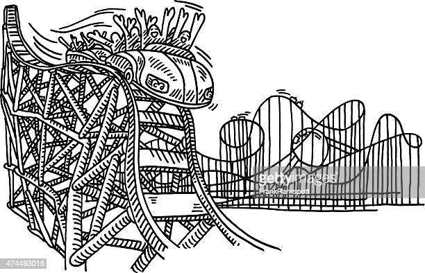 Rollercoaster Amusement Park Drawing