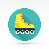 Flat style with long shadows, rollerskate vector icon.