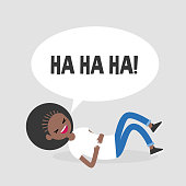 Rolling on the floor laughing. Conceptual illustration. Young black female character having fun. Humor. Flat editable vector illustration, clip art