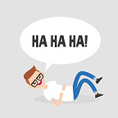 Rolling on the floor laughing. Conceptual illustration. Young character having fun. Humor. Flat editable vector illustration, clip art