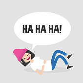 Rolling on the floor laughing. Conceptual illustration. Young female character having fun. Humor. Flat editable vector illustration, clip art