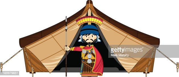 Roman Soldier and Tent : Vector Art