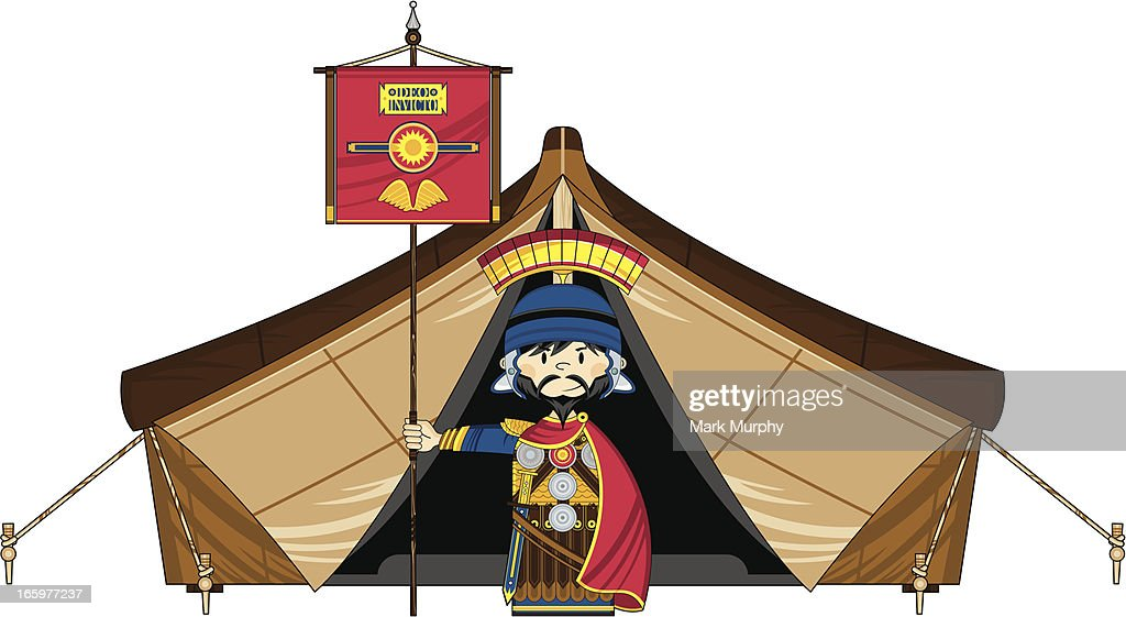 Roman Soldier with Banner by Tent : Vector Art