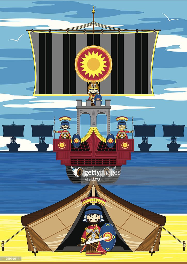 Roman Soldiers and Ship Scene : Vector Art
