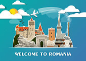 Romania Landmark Global Travel And Journey paper background. Vector Design Template.used for your advertisement, book, banner, template, travel business or presentation
