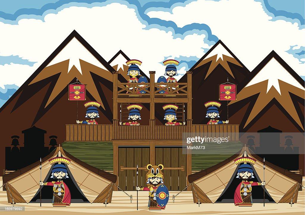 Romans at Fort Scene : Vector Art