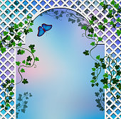 Background with  romantic arbor entwined with ivy