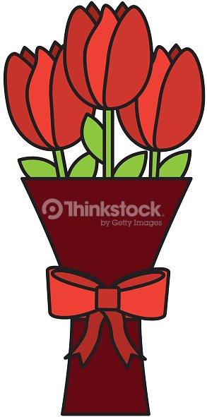 Romantic bouquet flower tulip with bow decoration