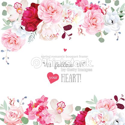 Romantic Floral Frame Arranged From Flowers And Leaves Vector Art ...