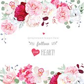 Romantic floral frame arranged from burgundy red and white peony, pink rose, camellia, hydrangea, anemone, orchid. Beautiful wedding vector design. All elements are isolated and editable.