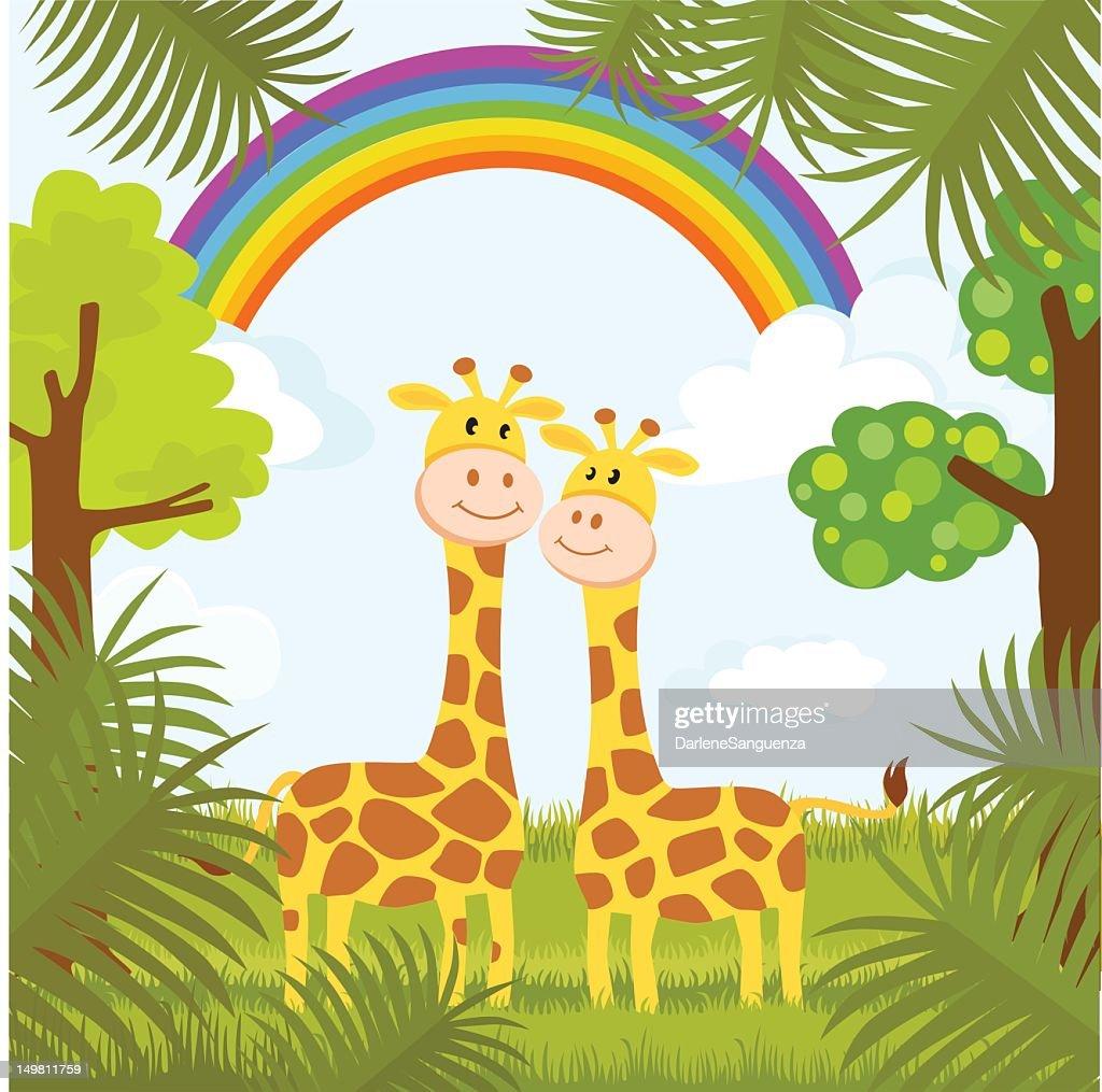 Romantic Giraffe Couple