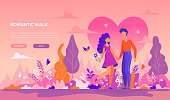 Romantic walk - modern flat design style banner with copy space for text. Colorful composition with male, female characters, boy, girl on a date, holding hands, images of trees, bird, rabbit, flowers