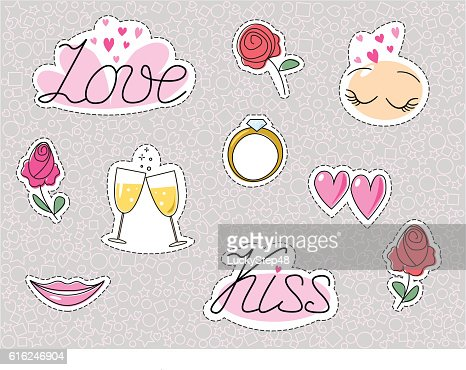 Romantic wedding stickers or patches. Love dating kiss heart and : Vector Art