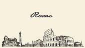 Rome skyline vintage engraved illustration hand drawn sketch