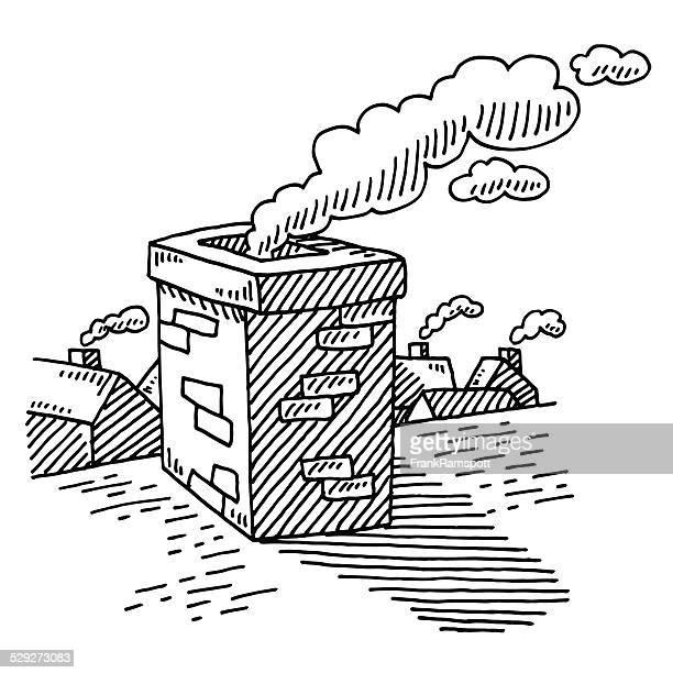 Roof Smoking Chimney Drawing