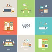 Set of colorful vector interior room type icons in modern flat design featuring living room, bedroom, kitchen, bathroom, dining room, home office and nursery.