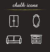 Room interior chalk icons set. Vector. Couch, wall mirror, closet and bedside table