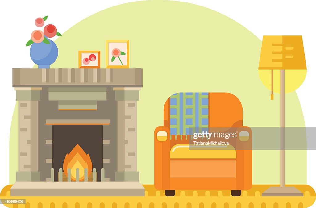 room interior with fireplace, armchair and lamp : Vector Art