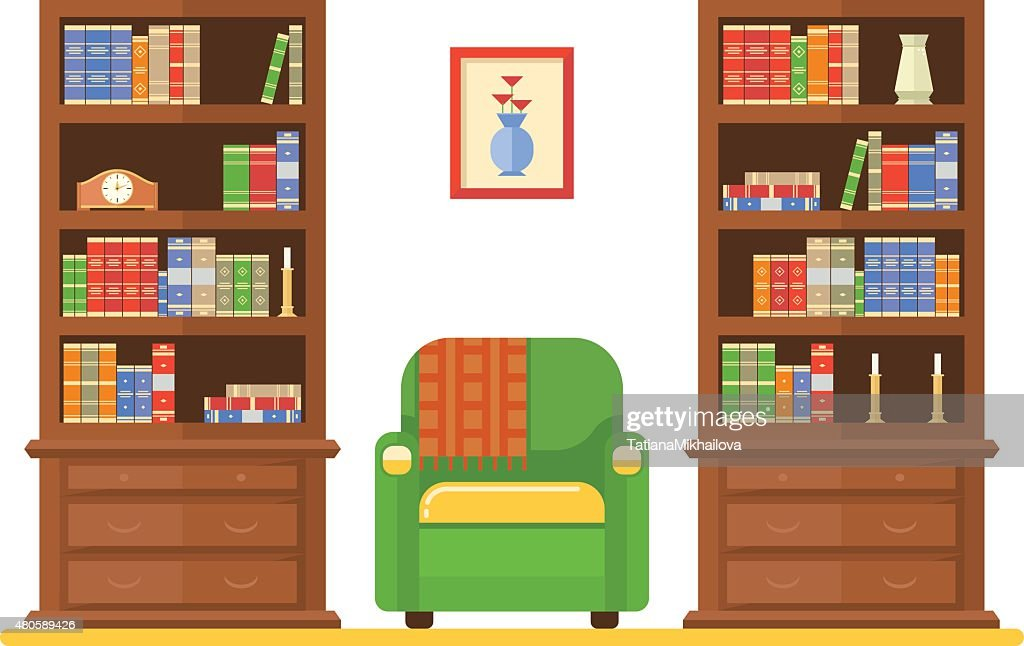 room interior with two bookcases and armchair : Vector Art