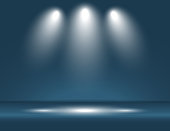 Spotlight blue light rays room studio background for use in various applications and design products vector