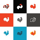 Rooster and cock. Flat design style vector illustrations set of icons and design elements