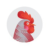 Vector illustration of rooster. Engraving style. Logo, icon, greeting cards element for New Year's r design. Symbol of new year 2017.Chinese calendar.