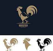 rooster silhouette. Design element for label, emblem, sign, badge. Vector illustration.