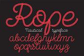 Rope alphabet vector font on blue background